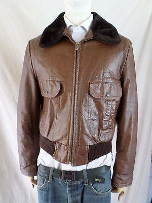 true vintage light brown leather A-1 flight military retro bomber jacket Medium