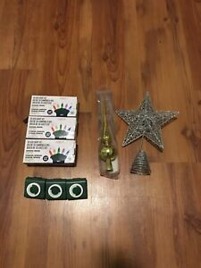 Christmas lights, timers, star tree topper