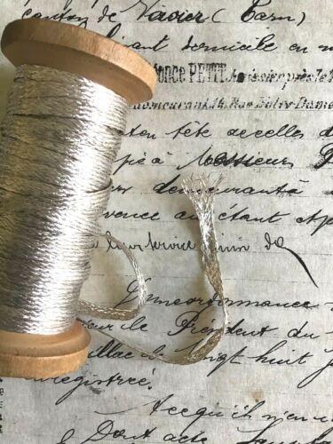 "3 yds Vintage Antique French Silver Metallic Mesh Trim Lampshade Pillow 1/8"""