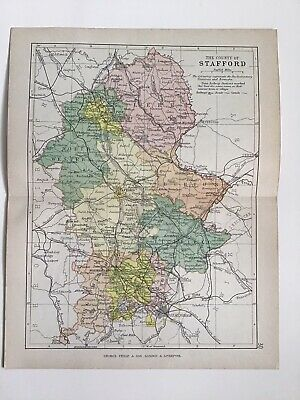 STAFFORD c1886 Antique County Map Philip Railways Parliamentary Boroughs Atlas