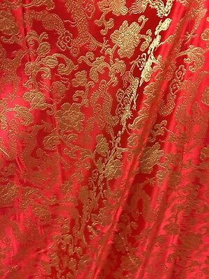 RED GOLD METALLIC DRAGON FLORAL BROCADE FABRIC (54 in.) Sold By The Yard](Red Brocade)