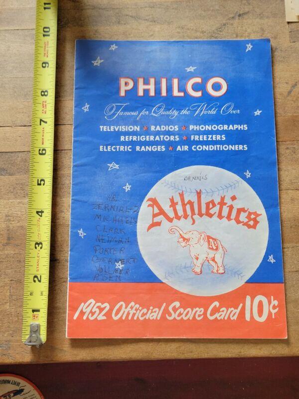Original vintage 1952 Philadelphia Athletics Philco score card program booklet