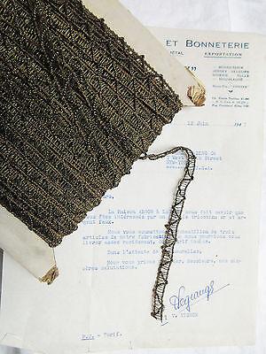 "Vintage Antique French Dark Gold Metallic Lace Trim 3/8"" Lampshade Pillow"