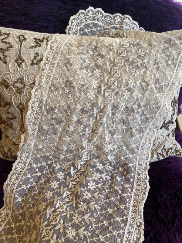 Exquisite Antique 19thC Edwardian FRENCH Tambour Lace 13 X33 Runner Veil Capelet