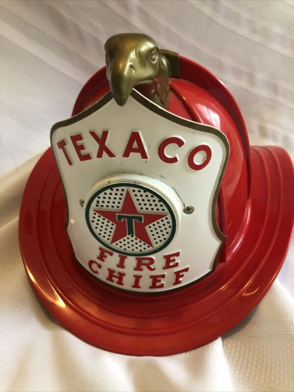Vintage Texaco Fire Chief Electronic Toy Helmet Hat Fireman w/ Microphone