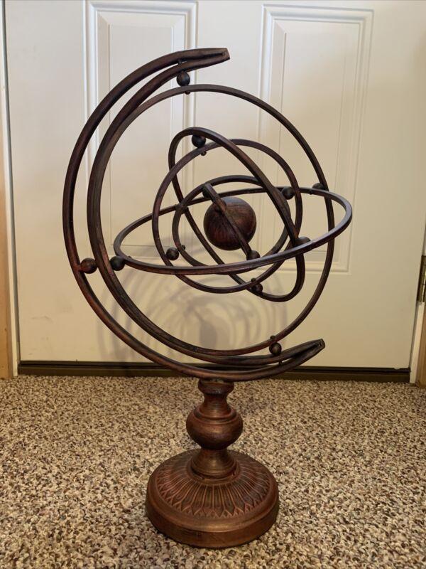 Vtg Metal Rotate Sphere Globe Armillary Handmade Base Decor Zodiac Solar System