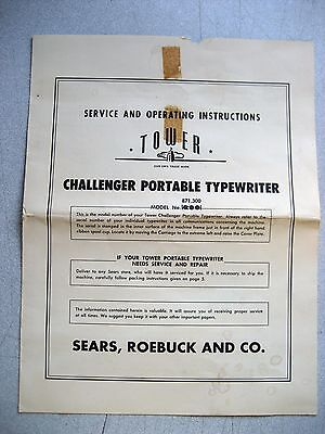 Vintage User Manual For Sears Challenger Manual Typewriter 6 Pages Wwarranty