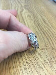 Ladies Sterling Silver and diamond chips ring