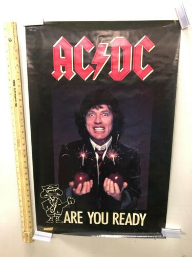 RARE AC/DC ARE YOU READY 1990 VINTAGE MUSIC POSTER ANGUS YOUNG CLASSIC ROCK
