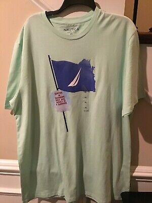 NAUTICA SZ XL T-SHIRT SURF AND SWIMMING GREEN NEW WITH TAGS