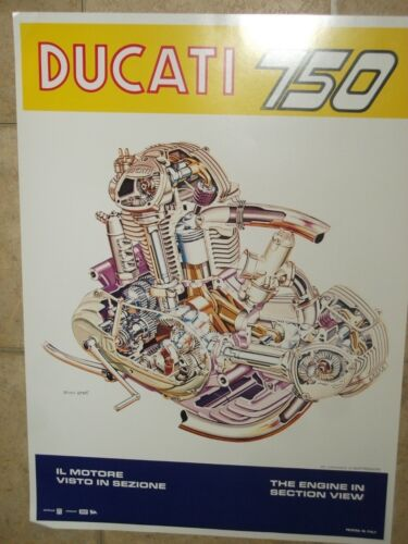 Ducati Factory 750 Engine Poster with cross section view. Large format