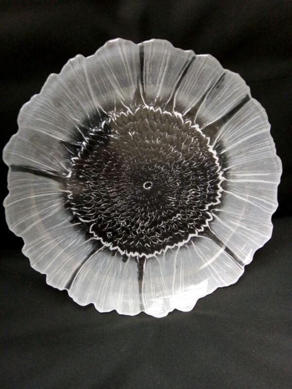 Kosta Boda Swedish Glass Platter By Mats Johansson Lydia Sunflower