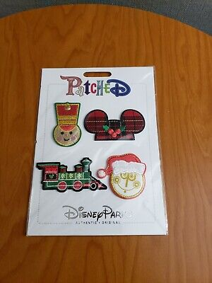 Disney Parks Patched Christmas Soldier Ears Train Small World Clock Patch Set /4