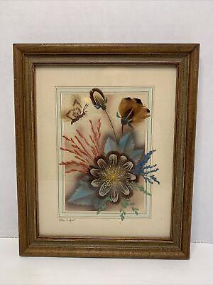 Vintage Feather Craft Ellen Kiefert Art Prairie Picture Framed Signed Original
