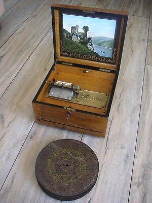 """Polyphon mit Blechplatten 24,3cm Spieluhr Spieldose music box with discs 9 5/8"""""""