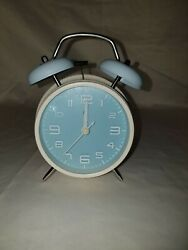 PiLife 3 Mini Nonticking Vintage Classic Analog Alarm Clock with Backlight Blue
