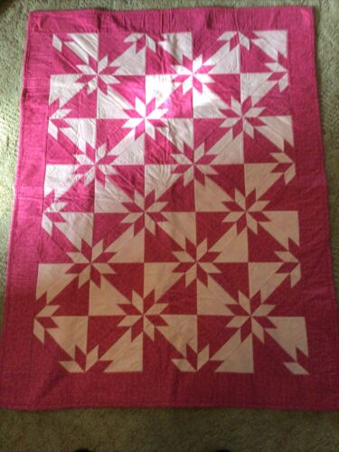 Handmade Baby Quilt, Pink, Star, Perfect - $50.00