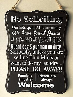 2 No Soliciting Sign Home Privacy Door Guard Dog  Voting  Kids Family Friends
