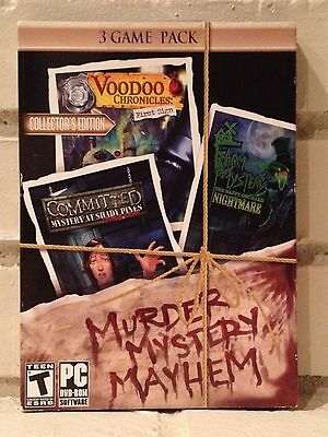 Computer Games - murder, mystery, mayhem --- 3-pack of mystery adventure computer games --- new