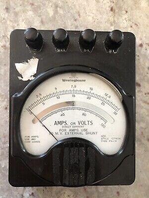Vintage Westinghouse Dc Direct Current Ammeter Multimeter Voltmeter Type Px-14