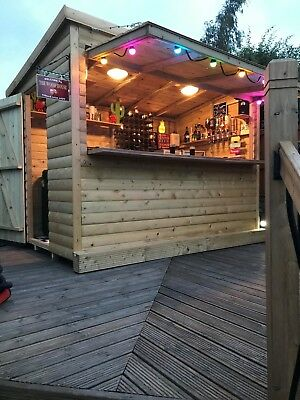10'x6' FULLY TANALISED 19mm t&g Loglap IN HOUSE BAR/Pent Roof WITH OPEN FRONT