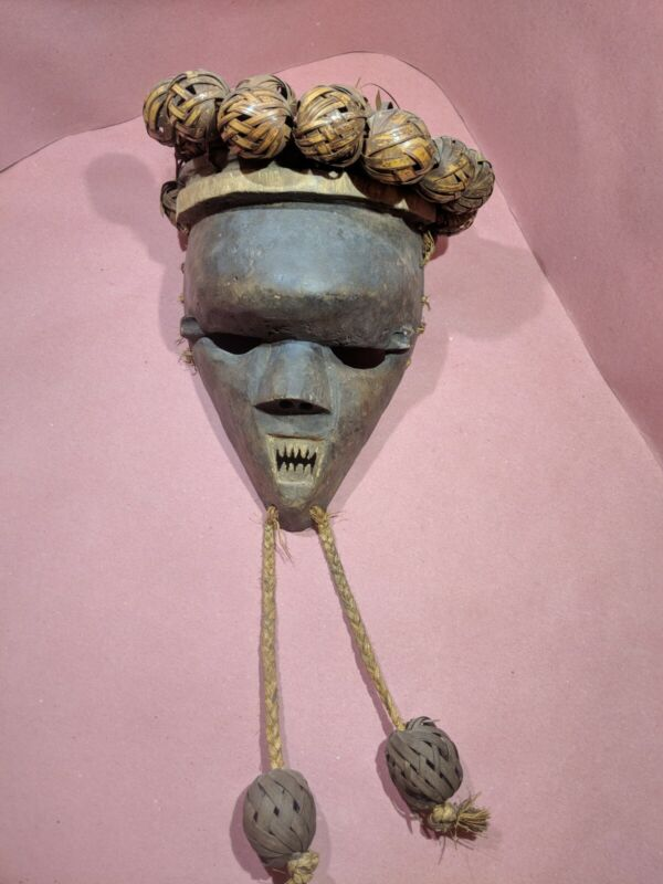 Salampasu Mask with Jagged Teeth — Authentic Carved Wood African Art from Congo
