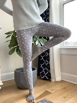New Hollister Womens Cotton Leggings Star Pattern Light Grey