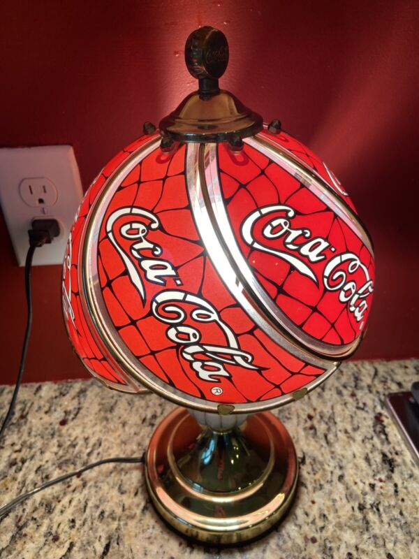 Vintage  Coca Cola 1997 Touch Lamp Glass Gilded   Collectible  Pre-Owned