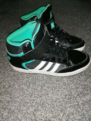 Adidas Mens High Tops Size 10.5 Black White And Green