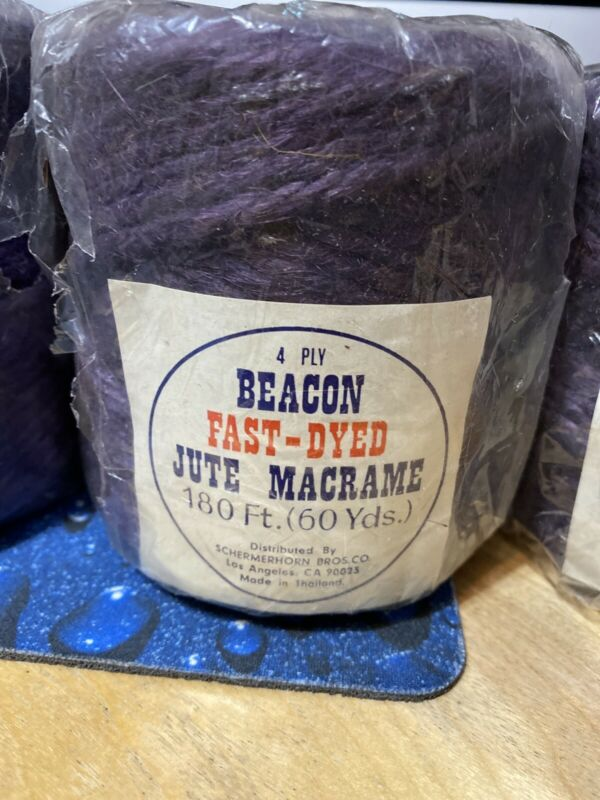 ONE BEACON 4 PLY FAST DYED JUTE MACRAME CORD ROPE 180 FT Purple - THAILAND