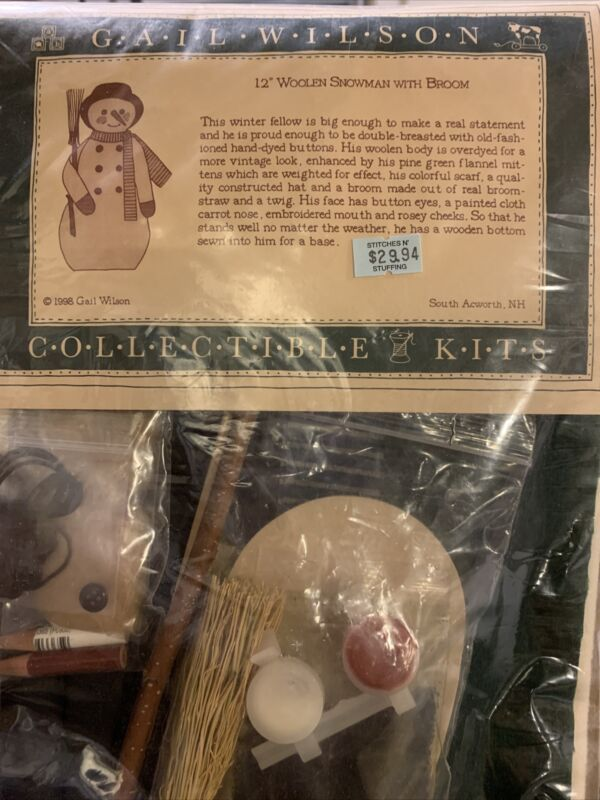 Gail Wilson Collectible Kits.  12 Inch Woolen Snowman With Broom Kit