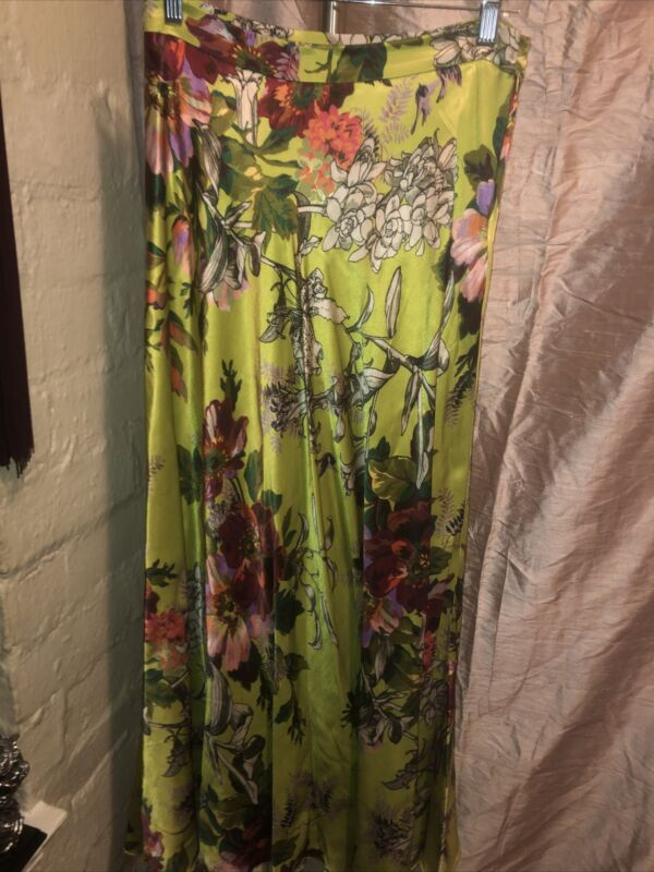 NWOT MAEVE by ANTHROPOLOGIE LIME GREEN FLORAL MAXI SKIRT SZ 6