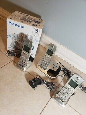 PANASONIC CORDLESS TELEPHONE w/Answering Machine Handsets, 3 phones, KX-TGE474s for sale  Shipping to Nigeria