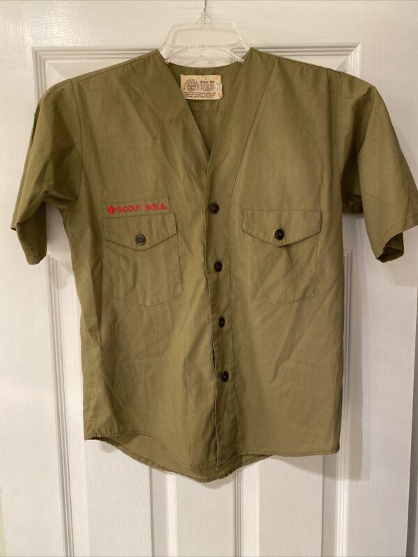 Vintage Olive Green BSA Boy Scout uniform shirt Short Sleeve     #26