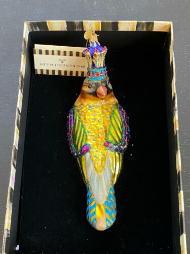 MacKenzie-Childs Regal Bird Blown Glass Ornament 2 In X 7.75