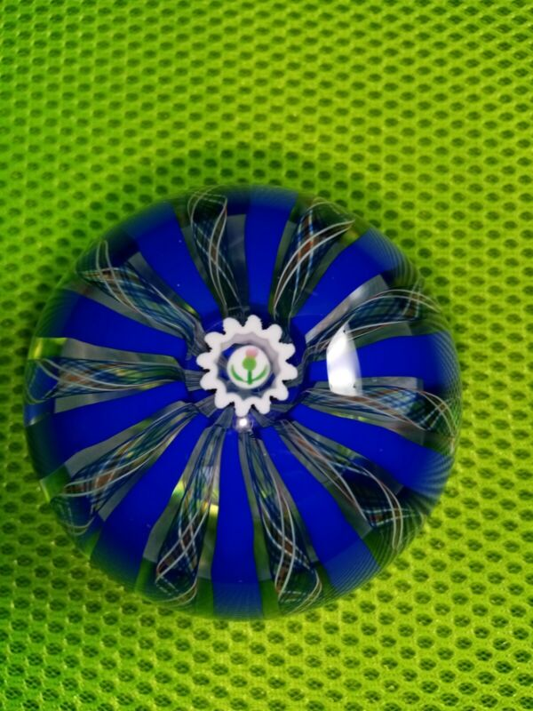 Caithness Glass Thistle Crown Blue Paperweight