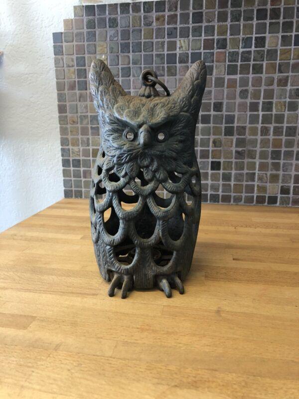 Antique Cast Iron Hanging Owl Garden Lantern