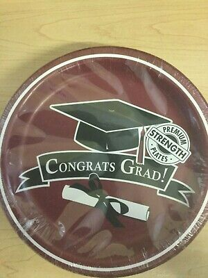 Graduation Dinner Plates Burgundy 18ct Decoration Favor Party Supplies](Graduation Plates)