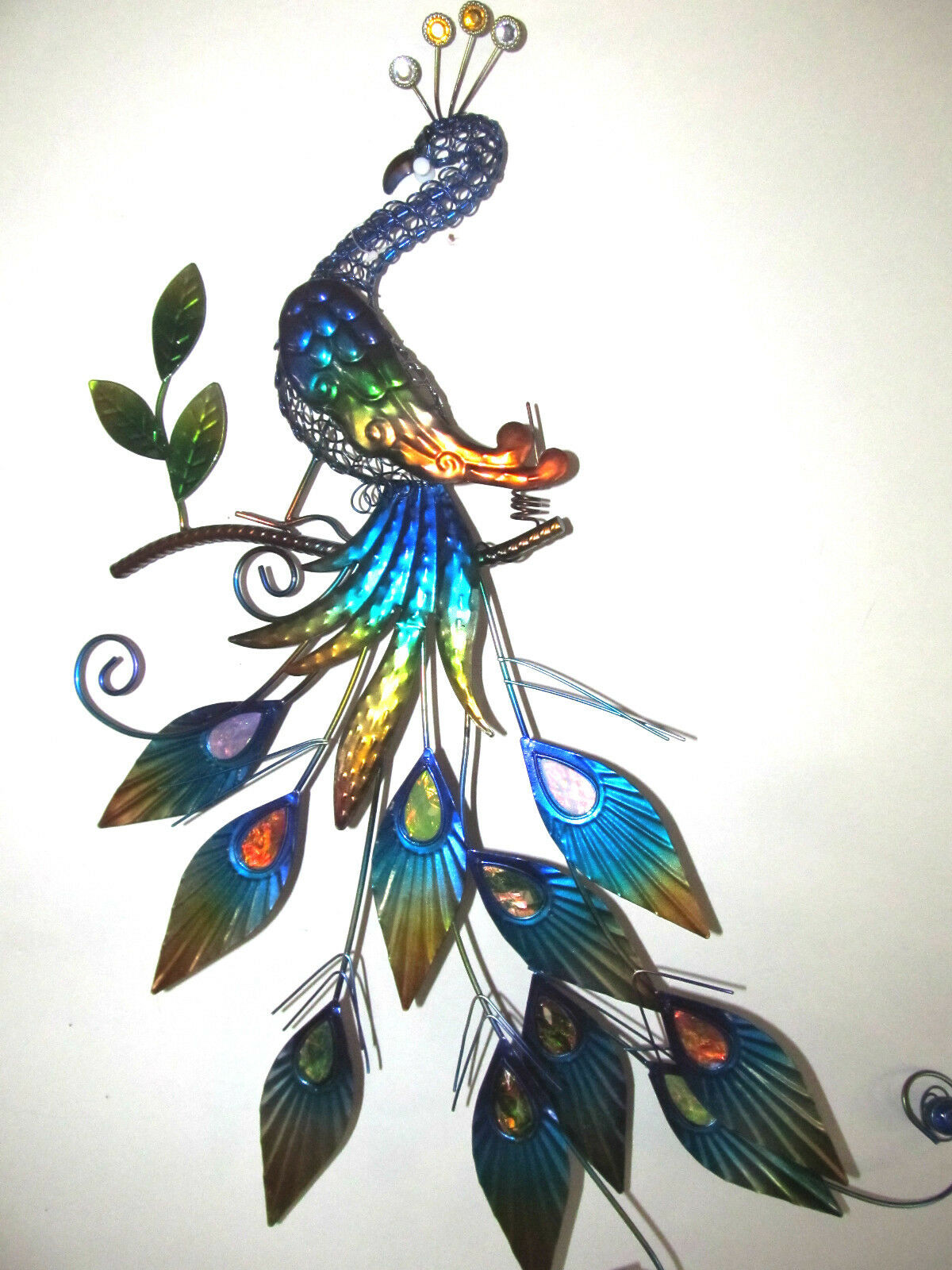 Peacock metal wall hanging with acrylic jewels wildlife for Peacock wall art