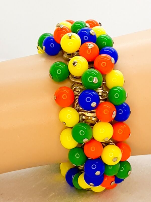 Vintage Fruit Salad ChaCha Expansion Bracelet Gold Tone Heavy Beads 1940s