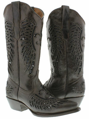 Cowgirl Formal Wear (Womens Brown Black Flower Sequins Leather Cowgirl Boots Wear Pointed)