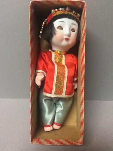 "Vintage 6"" Sleeping Ceramic Doll Push Voice China Girl in Original Box"
