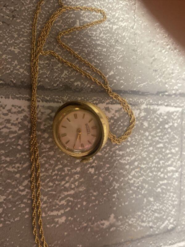 Vintage Ernest Borel Black & Gold Enamel Ball Watch Pendant