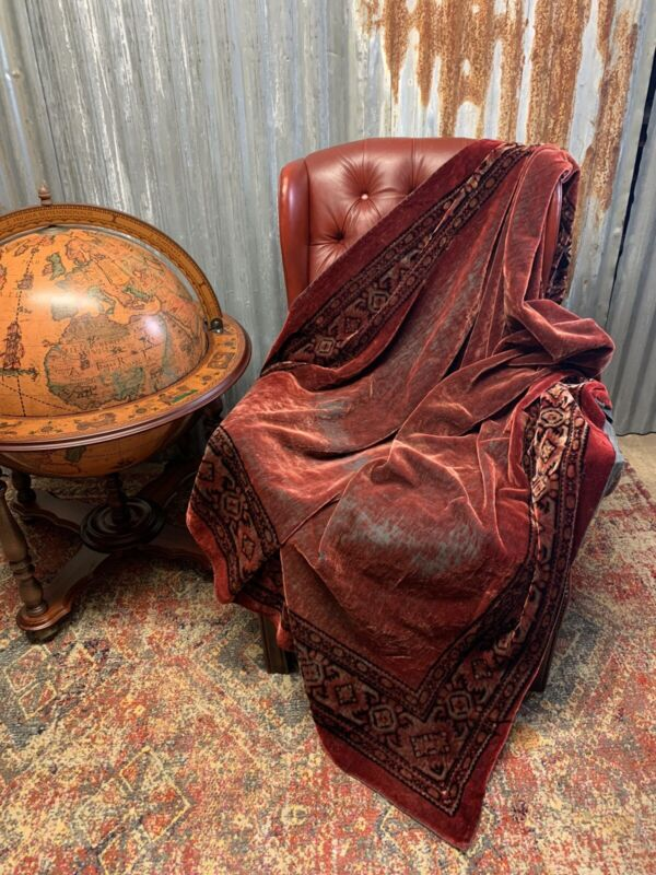 Antique Worn Red Velvet Throw Tablecloth Bedspread Persian Seance Occult