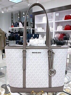 Michael Kors Jet Set Travel Small Top Zip Shoulder Tote MK Bag Bright White