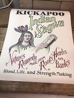 Vintage Kickapoo Indian Sagwa Natures Remedy Advertising Poster - Paper 16 X 20