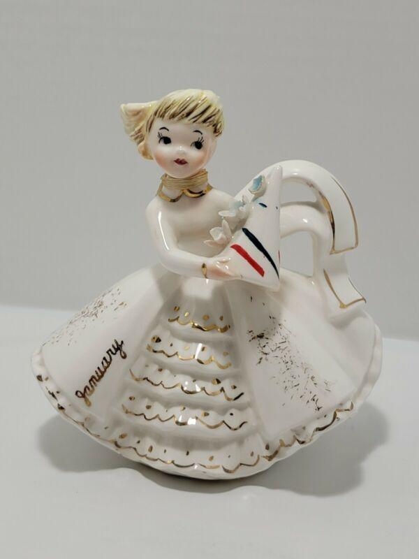 Vintage Lefton January Birthday Girl Christmas Figurine #1853Jan