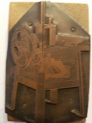 Antique Finely Detailed Copper Print Block - Ad For Early Washing Machine