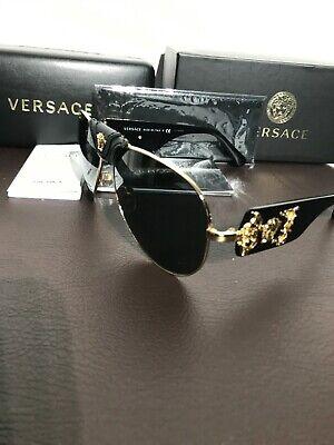 Versace Sunglasses 2150Q 100287 Gold Black Leather Medusa Baroque Sunglasses