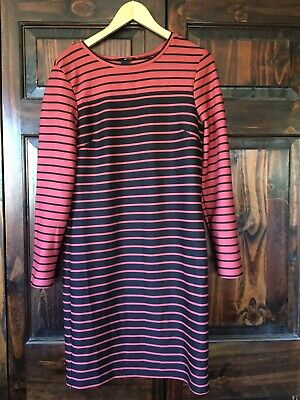 H&M Black Stripped Stretchy Polyester Dress Long Sleeve Size Large Women's